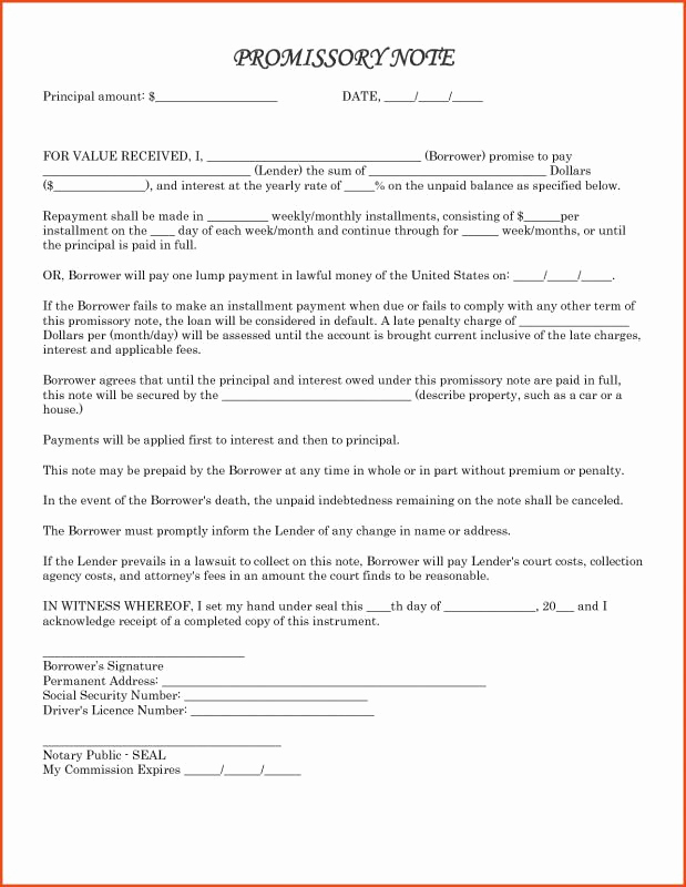 Promissory Note Word Template Awesome Promissory Note Templates Word