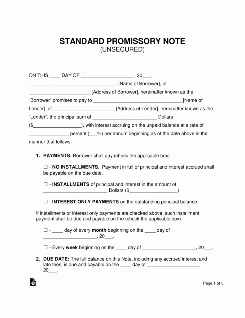 Promissory Note Word Template Best Of Free Unsecured Promissory Note Template Word