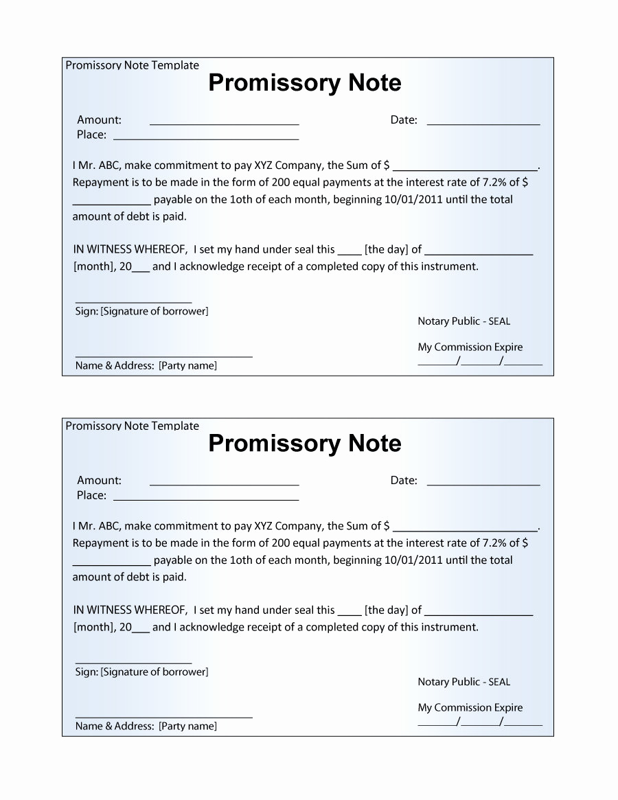 Promissory Note Word Template Elegant 45 Free Promissory Note Templates & forms [word & Pdf]