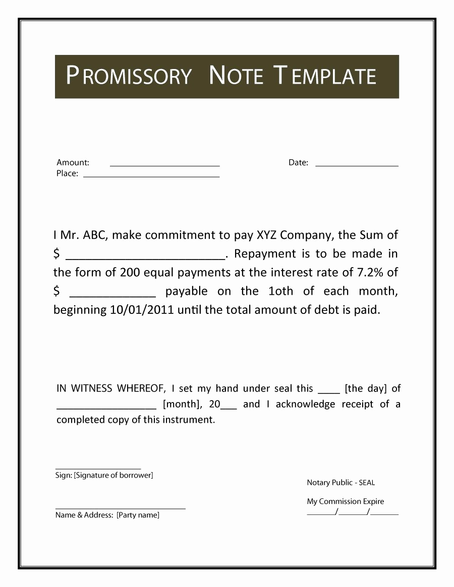 Promissory Note Word Template Elegant Promissory Note Template
