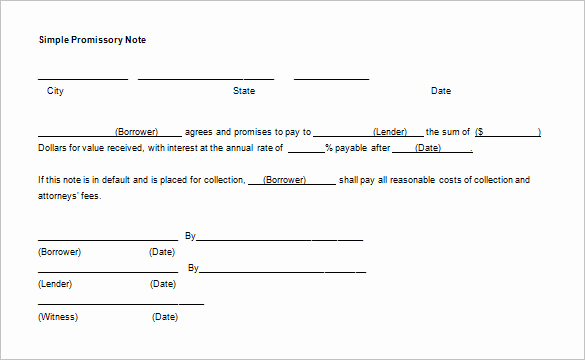 Promissory Note Word Template Lovely Simple Promissory Note