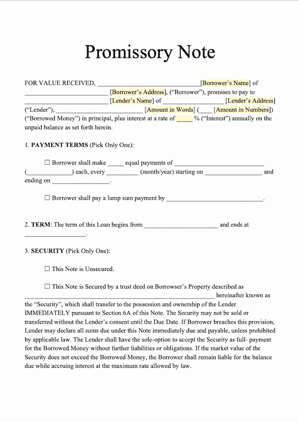 Promissory Note Word Template Luxury Free Promissory Note Template