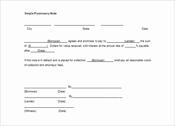Promissory Note Word Template New Free Promissory Note Template Word
