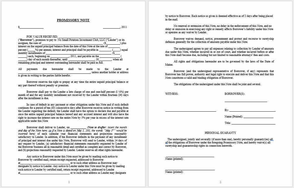 Promissory Note Word Template Unique 43 Free Promissory Note Samples & Templates Ms Word and