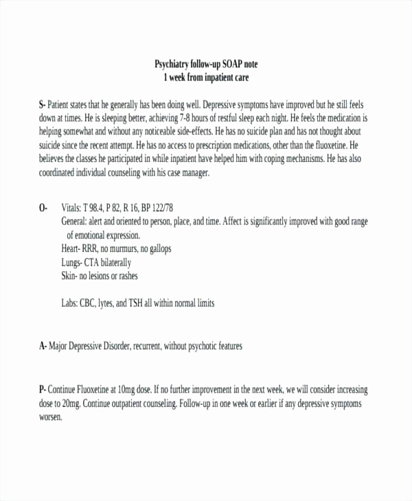Psychiatric soap Note Template Best Of Outpatient Progress Note Template – Ijbcr