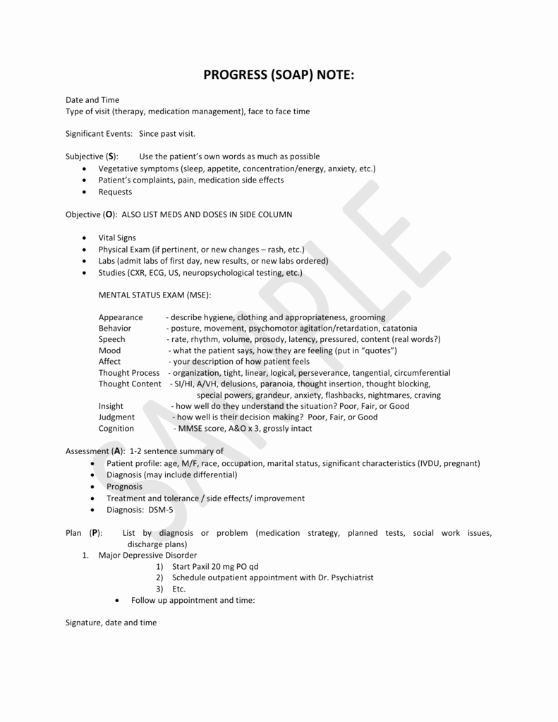 Psychiatry soap Note Template Awesome Medication Management Progress Notes