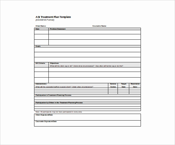 Psychotherapy Note Template Word New Psychotherapy Treatment Plan Template