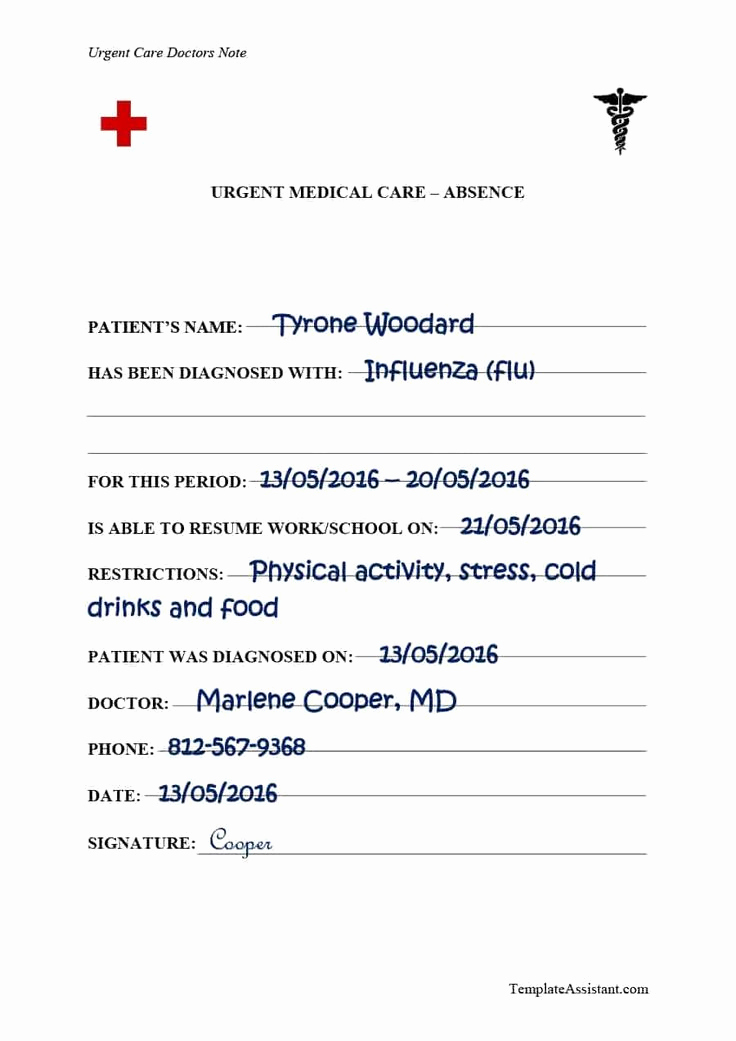 Real Doctors Note Template Best Of Doctors Note Template 38
