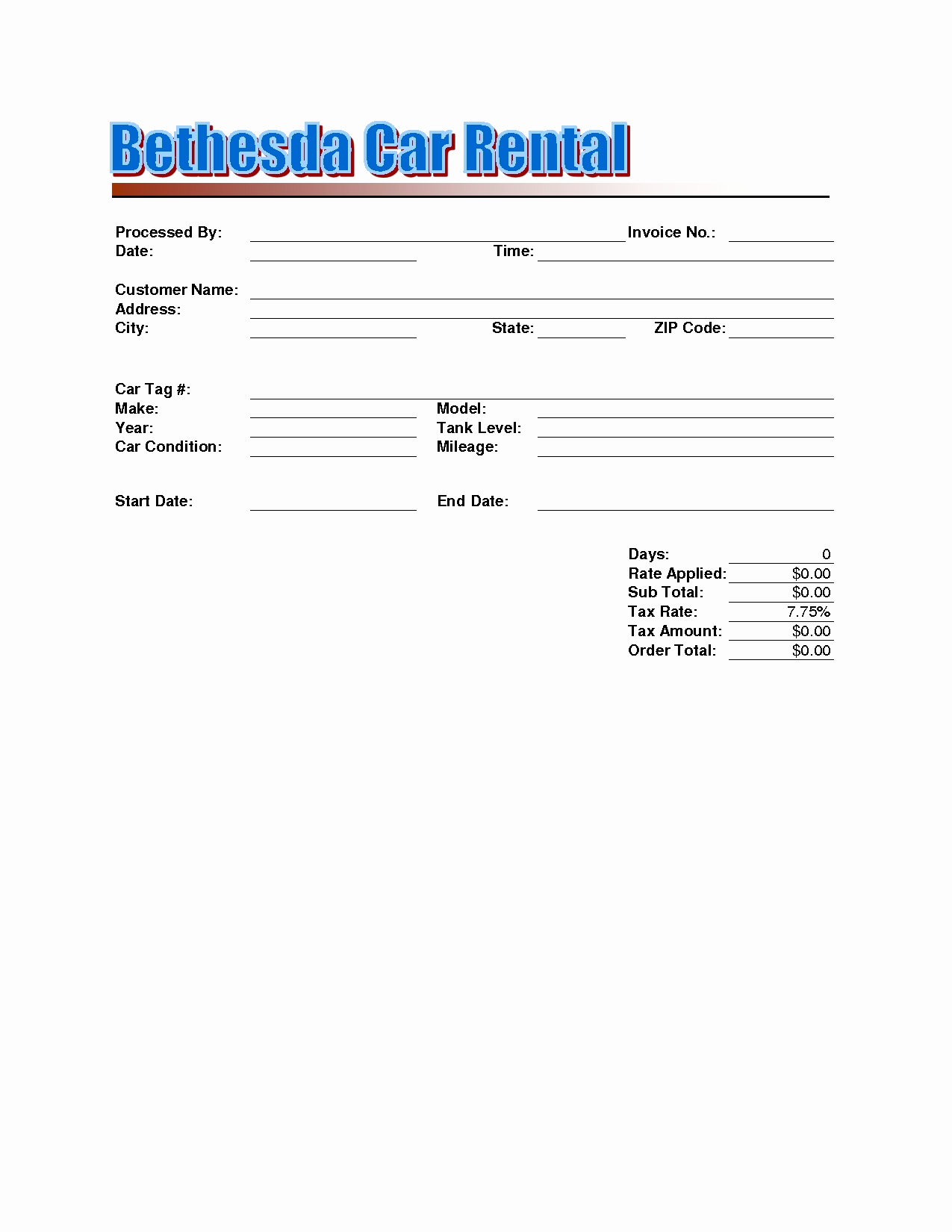 Rent Invoice Template Free Inspirational Rent A Car Invoice