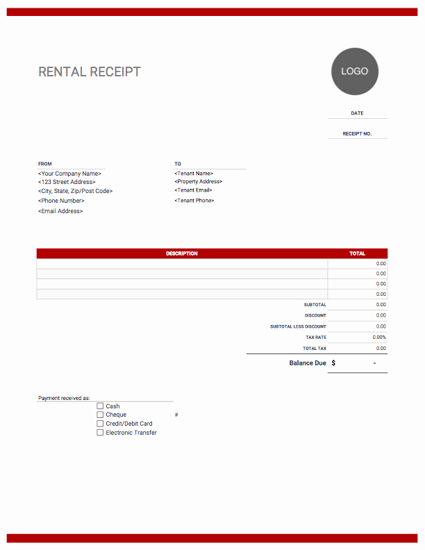 Rent Invoice Template Free Inspirational Rent Receipt Templates Free Download