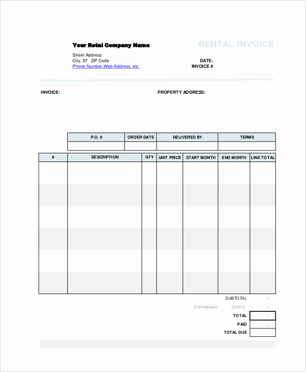 Rent Invoice Template Free Lovely Rent Invoice Template 12 Free Word Pdf format Download