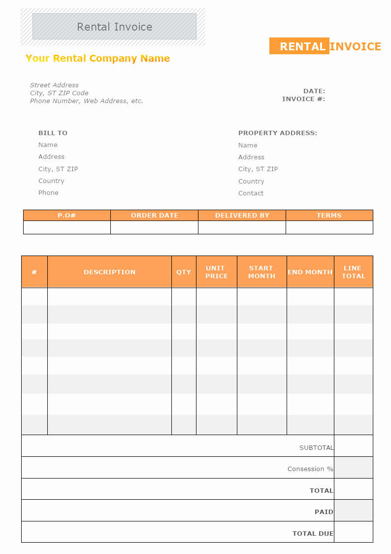 Rent Invoice Template Free New Rental Invoice Template Free Printable Receipt Templates