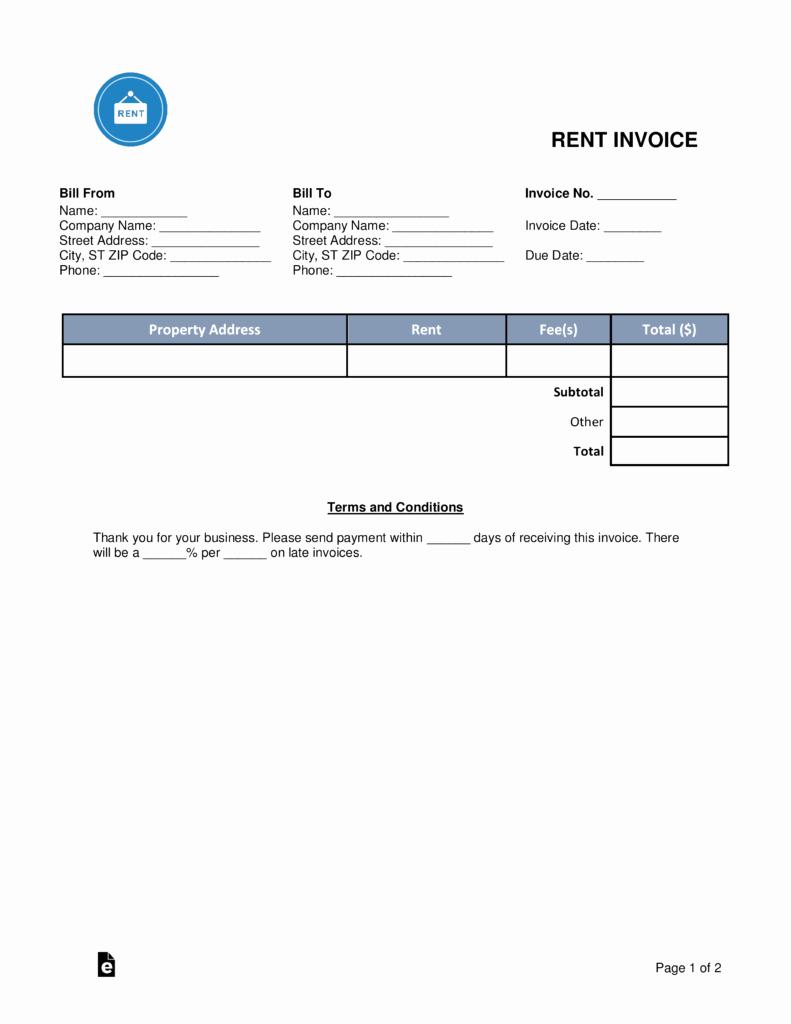 Rent Invoice Template Free Unique Free Rental Monthly Rent Invoice Template Word