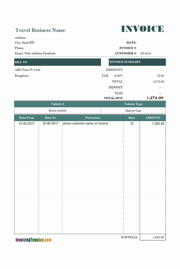 Rent Invoice Template Pdf Inspirational Car Rental Invoice Sample