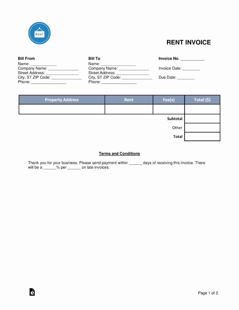 Rent Invoice Template Word Best Of Free Rental Monthly Rent Invoice Template Word
