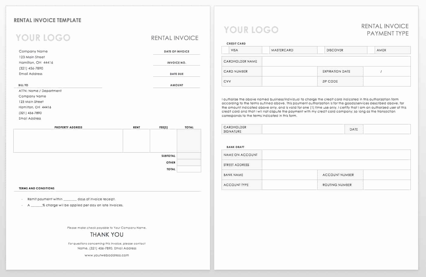 Rent Invoice Template Word Fresh 55 Free Invoice Templates