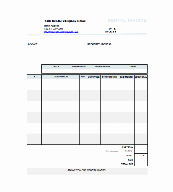 Rent Invoice Template Word Fresh Car Invoice Templates 18 Free Word Excel Pdf format