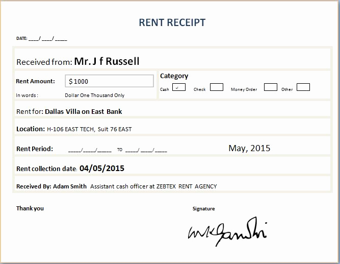 Rent Invoice Template Word Inspirational formal Rent Receipt Template