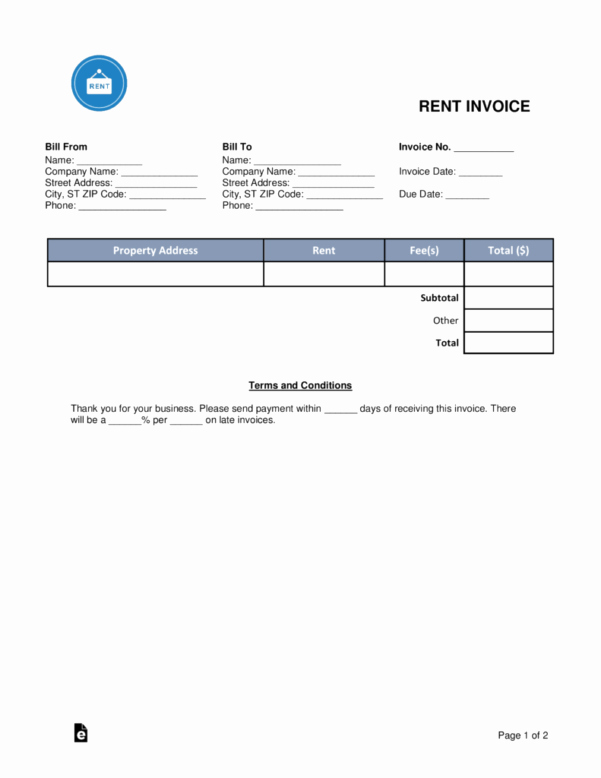 Rent Invoice Template Word New Rent Invoice Template Expense Spreadshee Rent Invoice