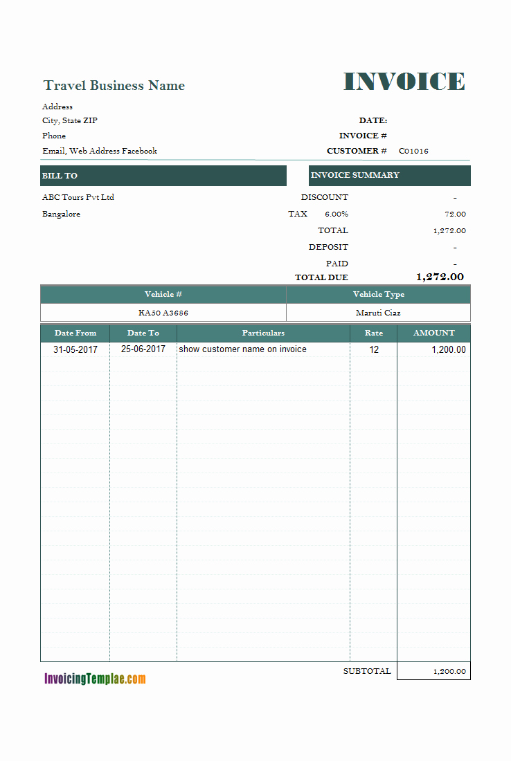 Rental Invoice Template Excel Awesome Car Rental Invoice Sample
