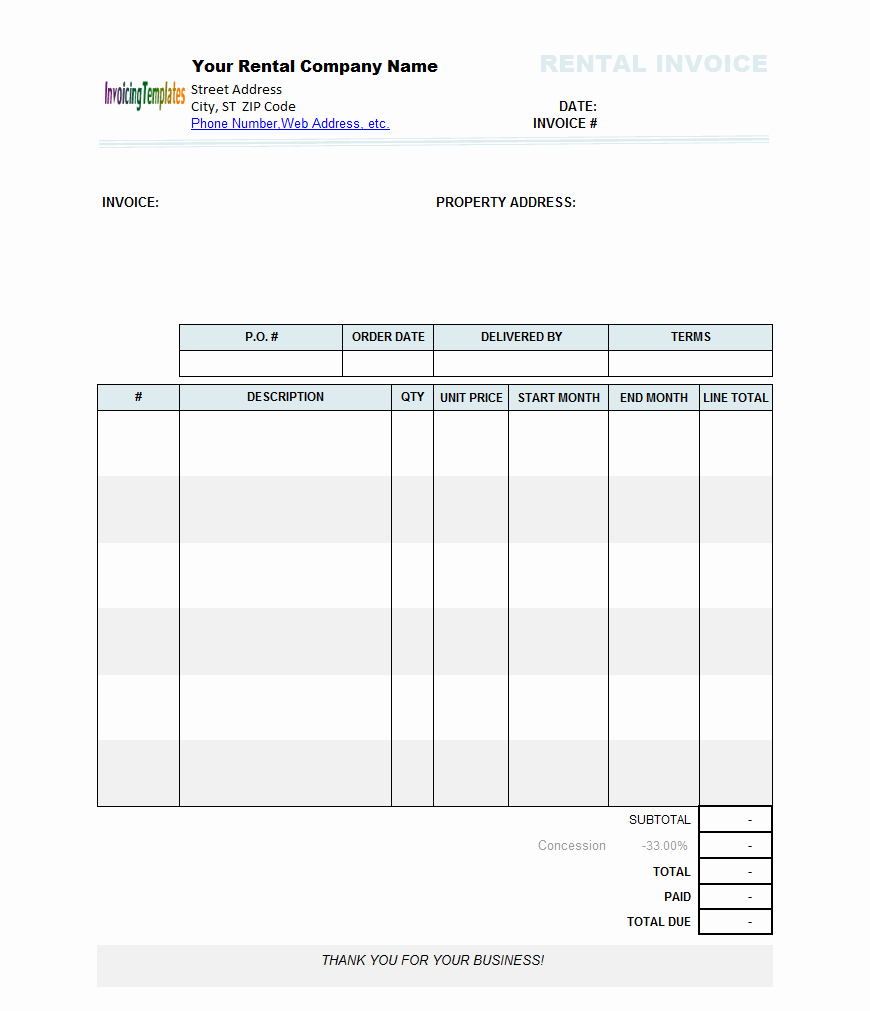 Rental Invoice Template Excel Awesome Rental Invoice Template Excel Trainingable