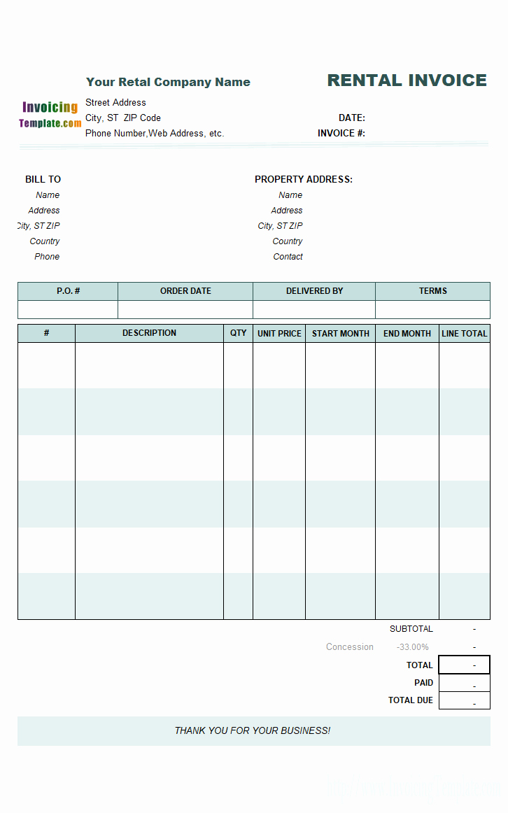 Rental Invoice Template Excel Awesome Word Rent Invoice Template