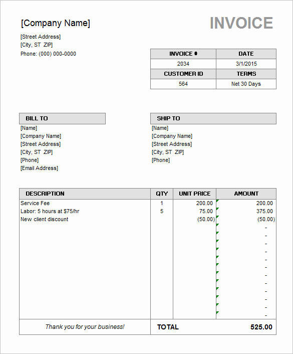 Rental Invoice Template Excel Beautiful Rental Invoice Template Excel