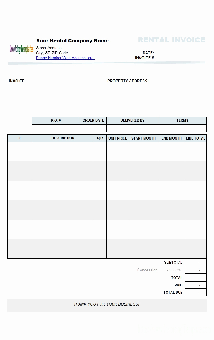 Rental Invoice Template Excel Best Of Property Management Invoice Invoice Template Ideas