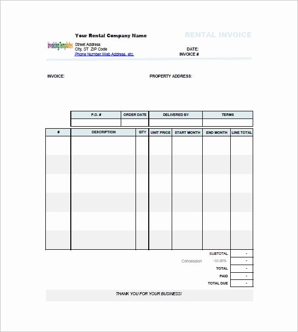 Rental Invoice Template Excel Inspirational Rent Invoices Template – Emmamcintyrephotography