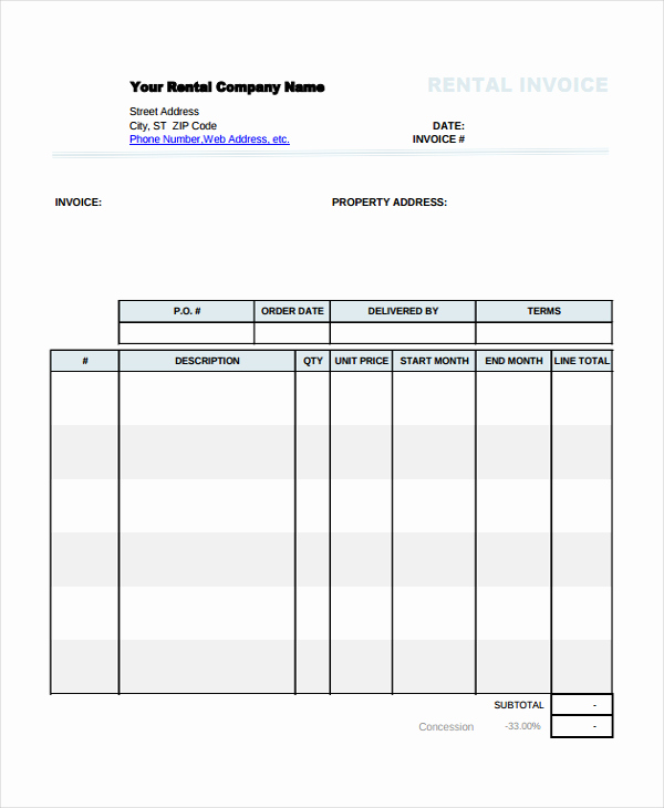 Rental Invoice Template Excel Luxury Using the Rental Invoice Template In All formats for Your
