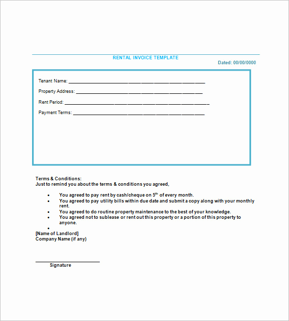 Rental Invoice Template Excel New Lease Invoice Template 15 Free Word Excel Pdf format