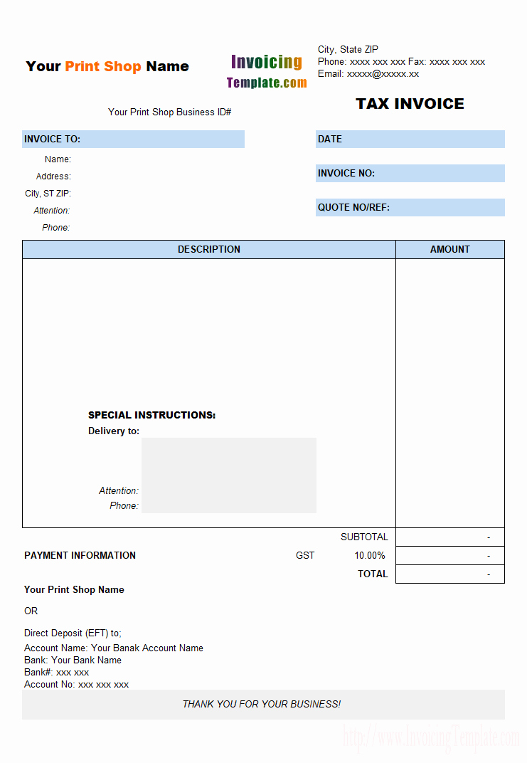 Rental Invoice Template Excel New Tax Invoice for Printing Shop
