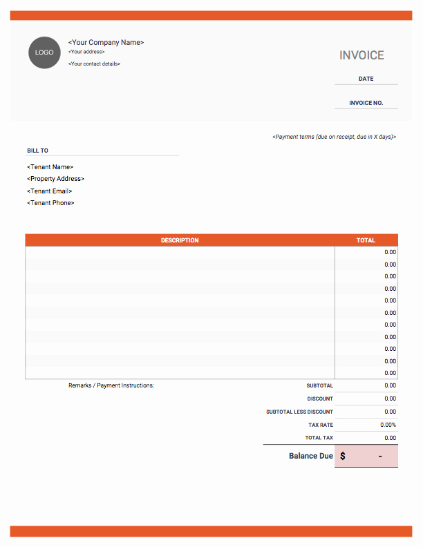 Rental Invoice Template Excel Unique Rental Invoice Templates Free Download