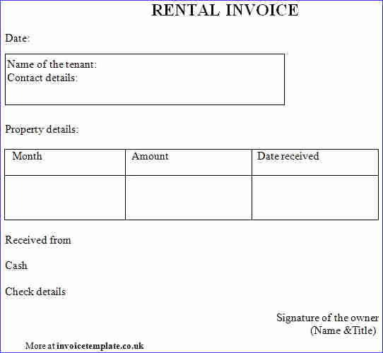 Rental Invoice Template Word Beautiful Rent Invoice format