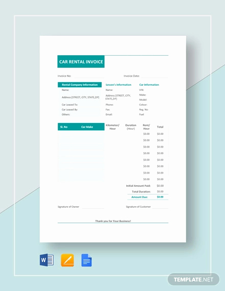 Rental Invoice Template Word Elegant Rental Invoice Template 20 Free Word Pdf Document