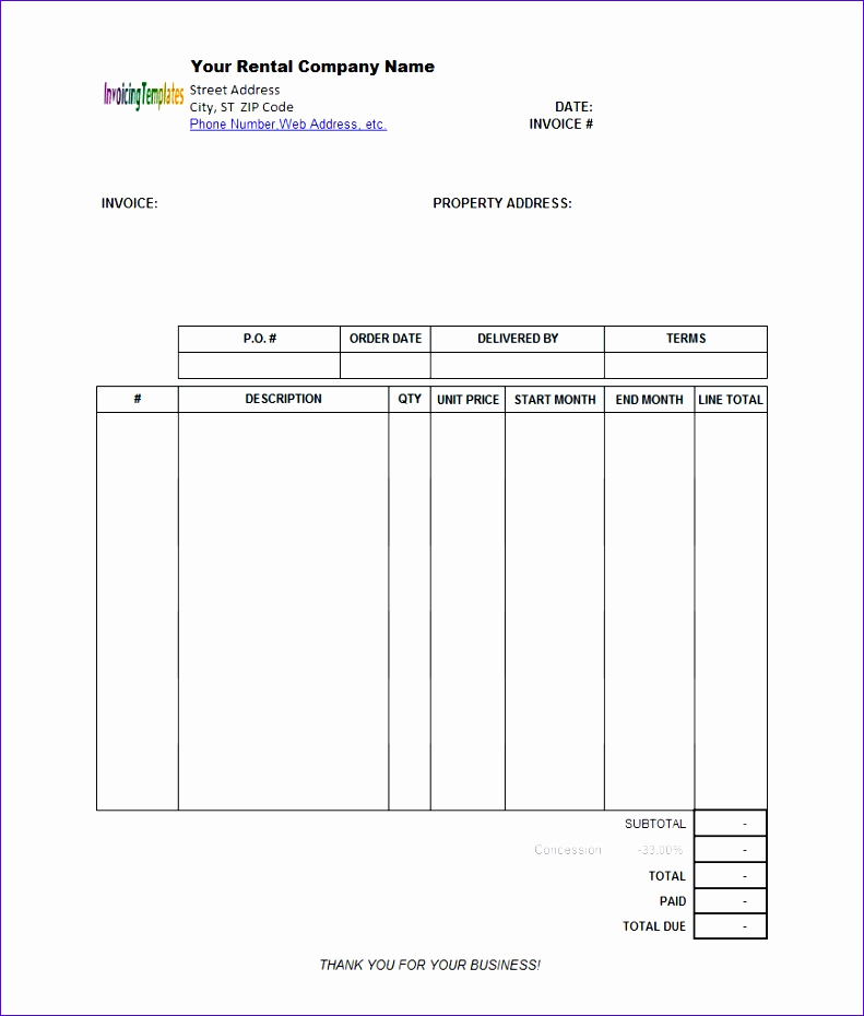Rental Invoice Template Word Inspirational 8 Invoice Template Excel 2003 Exceltemplates