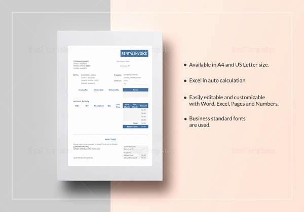 Rental Invoice Template Word Lovely Free 28 Sample Invoice Templates In Free Sample Example