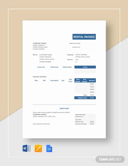 Rental Invoice Template Word Unique Sample Rental Invoice 12 Examples In Pdf Word Excel