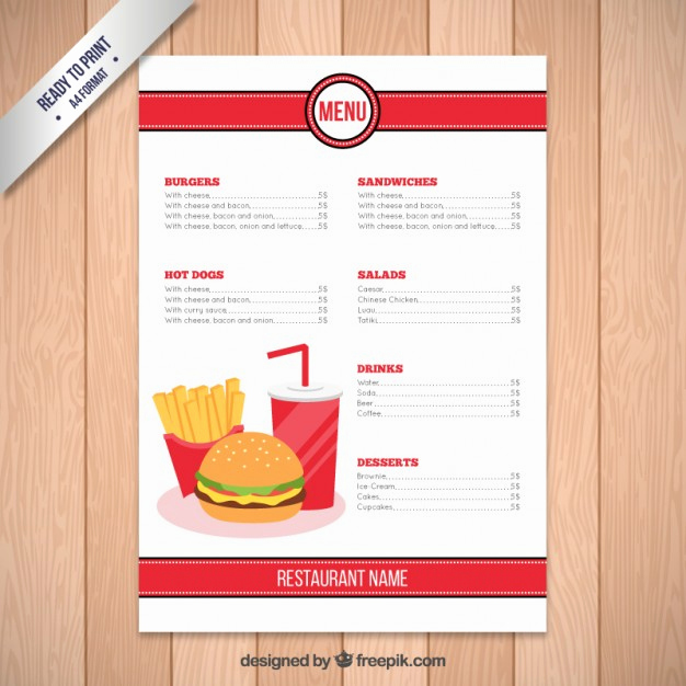 Restaurant Menu Template Free Download Awesome Fast Food Restaurant Menu Template Vector