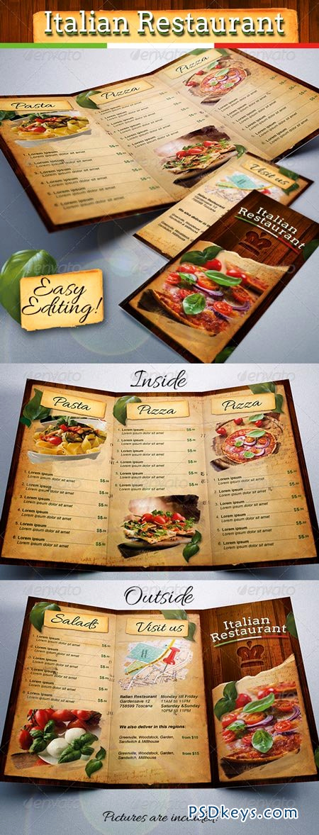 Restaurant Menu Template Free Download Awesome Italian Restaurant Food Menu Template Tri Fold