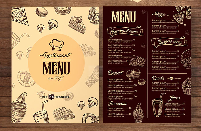 Restaurant Menu Template Free Download Beautiful Free Restaurant Menu Psd Template Wooskins