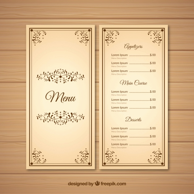 Restaurant Menu Template Free Download Elegant Restaurant Menu Template In Vintage Style Vector