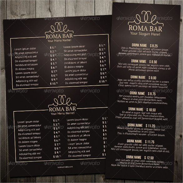 Restaurant Menu Template Free Download Lovely 35 Bar Menu Templates Psd Eps Docs Pages