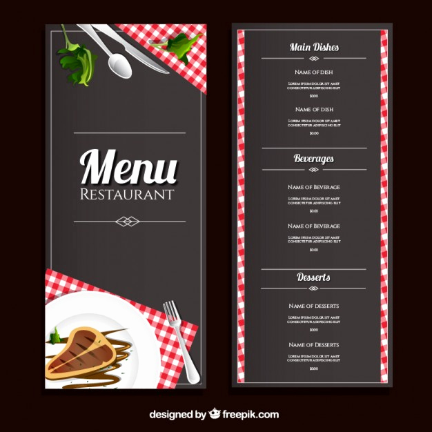 Restaurant Menu Template Free Download Luxury Restaurant Menu Template Vector