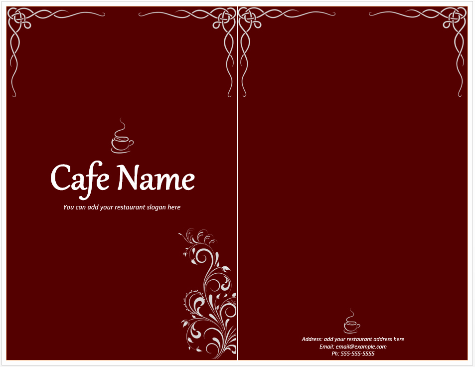 Restaurant Menu Template Free Download New Cafe Menu Template Word Templates