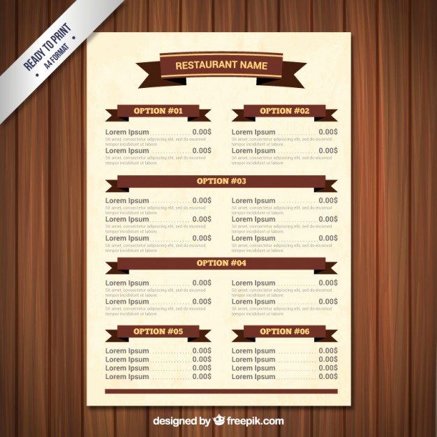 Restaurant Menu Template Free Download Unique Menu Template with Ribbons Vector