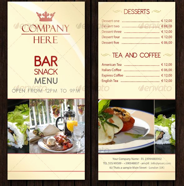Restaurant Menu Template Psd Awesome Bar Menu Design Templates