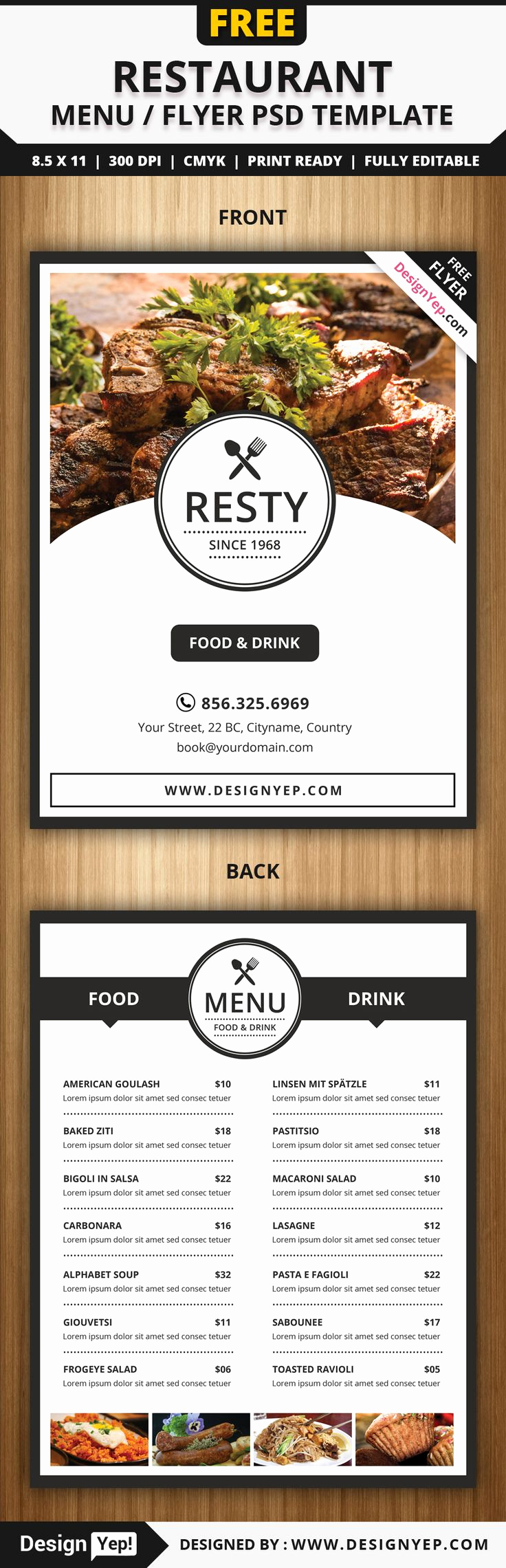 Restaurant Menu Template Psd Lovely Free Restaurant Menu Flyer Psd Template