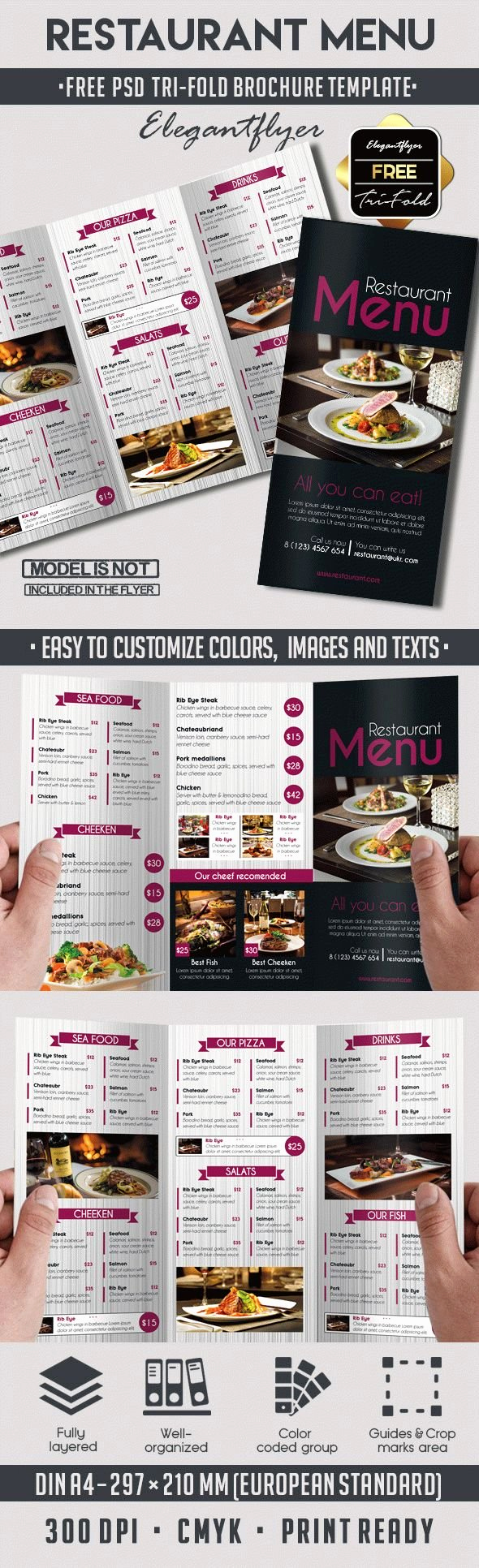 Restaurant Menu Template Psd Luxury Template Brochure for Restaurant – by Elegantflyer