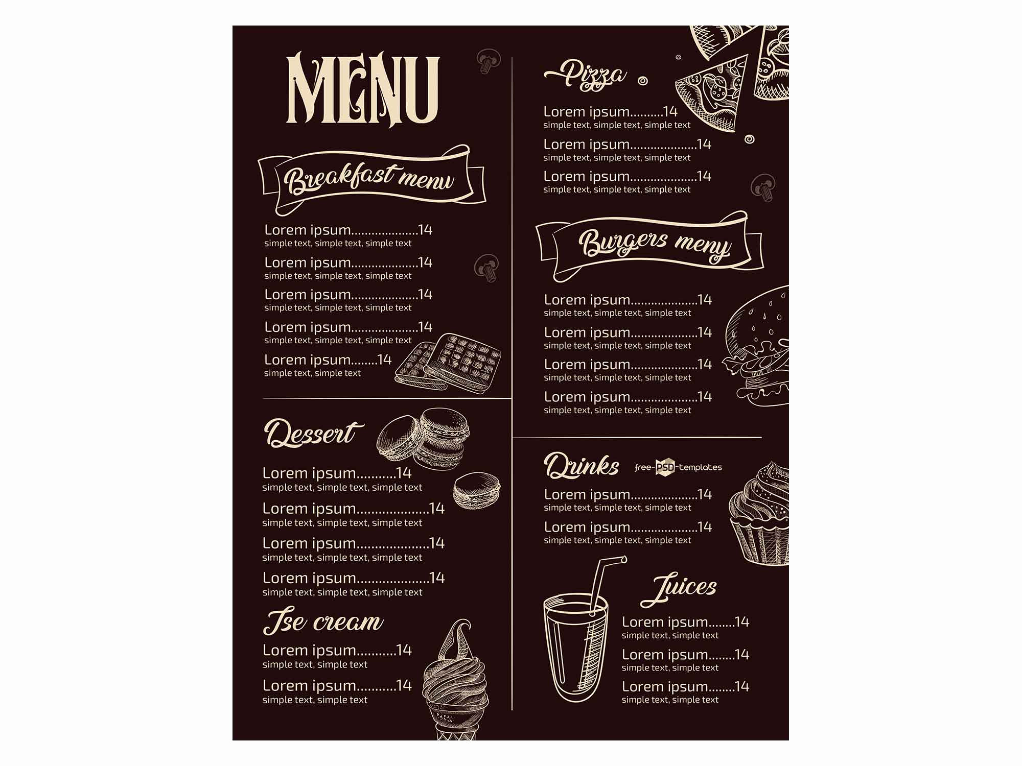 Restaurant Menu Template Psd New Free Restaurant Menu Template Psd